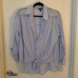 Express Button Down Tie-Front Blouse